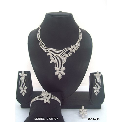 White American Diamond Jewellery Set