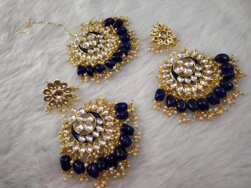 Designer Earrings Maang Tikka Set