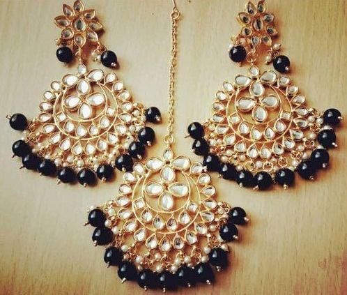 Party Wear Earrings Maang Tikka Set