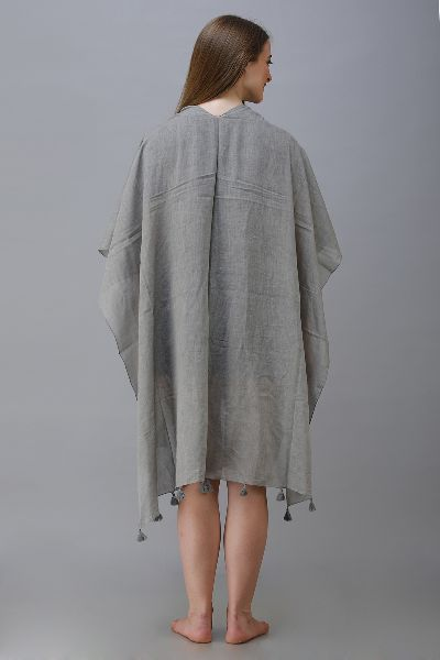 Dyed Poncho with Tassels