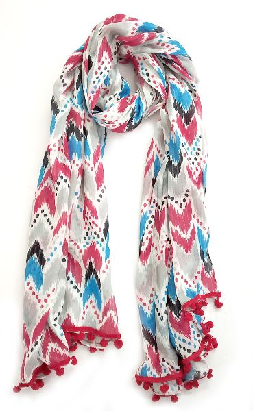 Screen Printed Stole with Lace