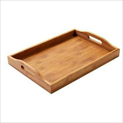 Light Brown Wooden Serving Tray