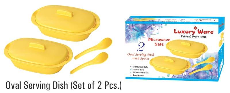 2 Pieces Microwavable Plastic Serving Bowl Set