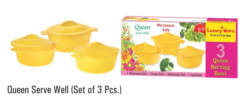 3 Pieces Microwavable Plastic Serving Bowl Set
