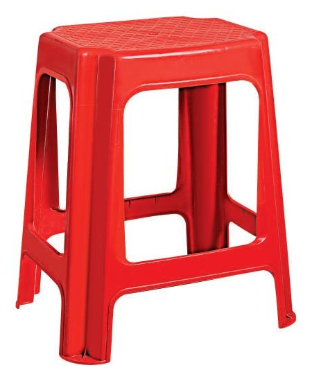 Tip Top Plastic Red Fancy Stool