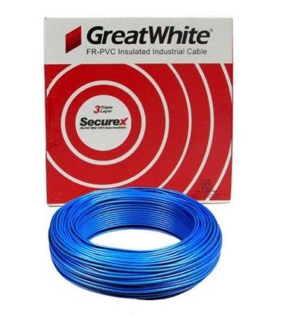 Great White 0.75 SQ MM Blue Triple Layer PVC Insulated Wire