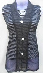 Black Stylish Net Top with Inner