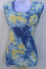 Blue & Lemon Yellow Printed Top
