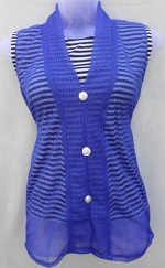 Blue Stylish Net Top with Inner