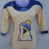 Cream Color Pretty Girl Print Cotton Top