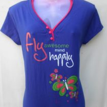 Dark Blue Printed Cotton Top