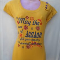 Dark Yellow Printed Cotton Top