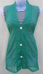 Green Stylish Net Top with Inner