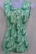 Green & White Color Printed Top
