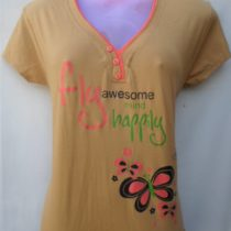 Light Yellow Printed Cotton Top