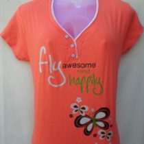 Orange Printed Cotton Top