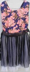 Peach & Blue Flower Print Top