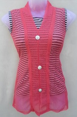 Pink Stylish Net Top with Inner