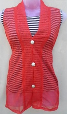 Red Stylish Net Top with Inner