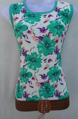 White with Green Flower Print Top