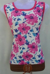 White with Pink Flower Print Top
