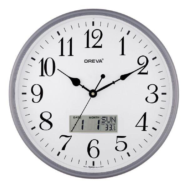 AQ 5557 SS LCD Premium Analog Clock