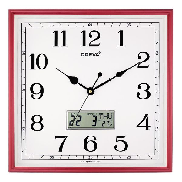 AQ 5647 SS LCD Premium Analog Clock