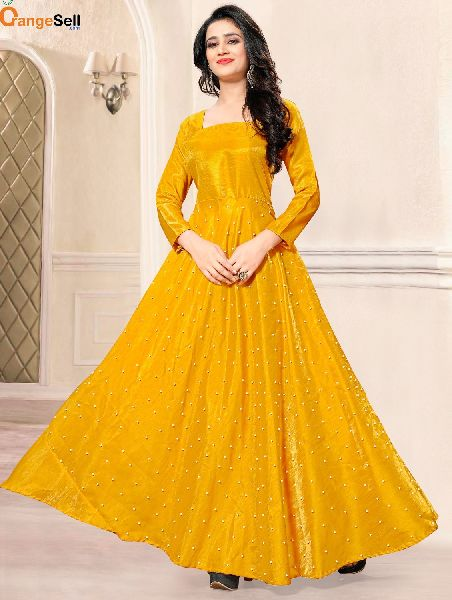 Party Wear Yellow Gown