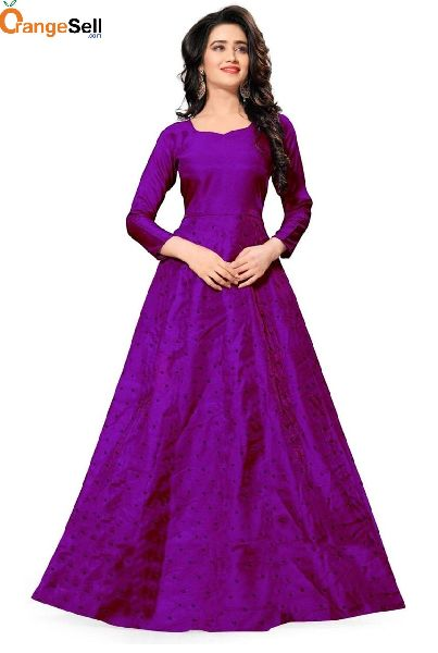 Party Wear Purple Gown