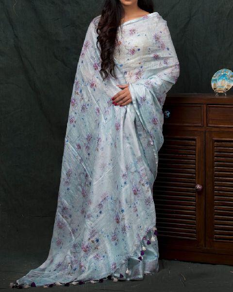 Digital Print Linen Silk Sarees