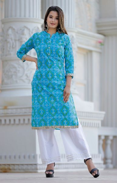 Bandhani Printed Straight Kurta With Palazzo