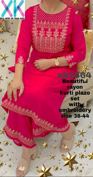 Rayon Embroidered Kurti with Palazzo