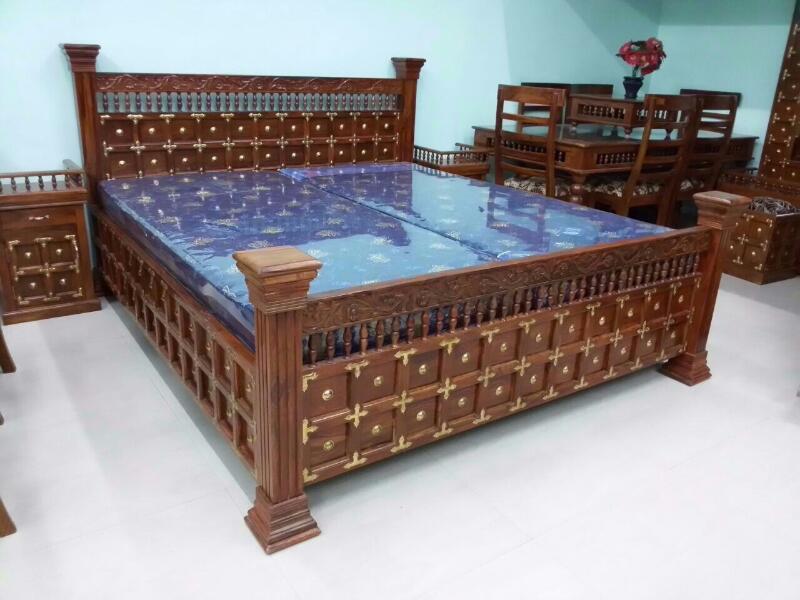 Wooden maharaja brass raj Bed