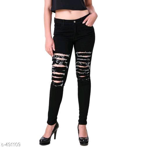 Ladies Black Ripped Jeans
