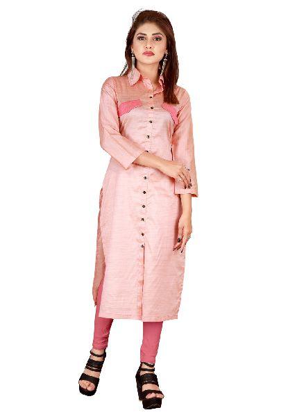 Pink Silk Kurti