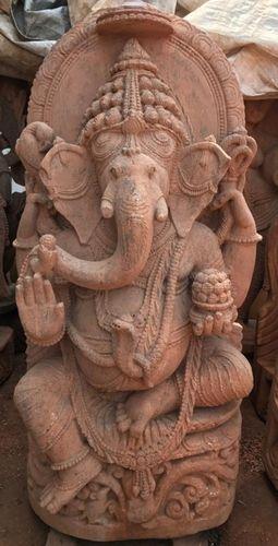 Pink Stone Sitting Ganesha Statue