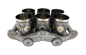 Oxidized Meenakari Glass Tray Set