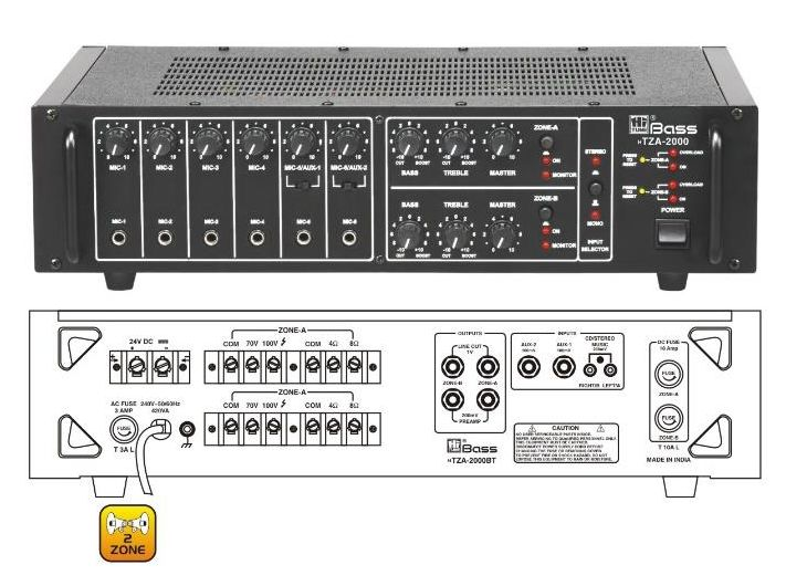 HTZA-2000 Two Zone PA Amplifier