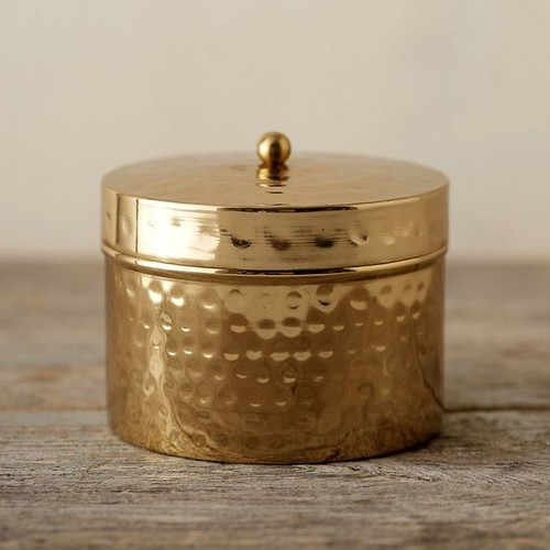 Brass Hammared Container With Lid