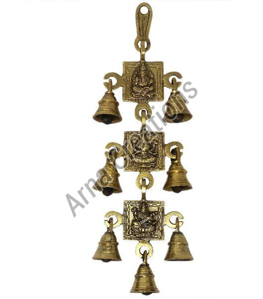 Brass Ganesh Laxmi and Saraswati Images with 7 Bells Wall Hanging