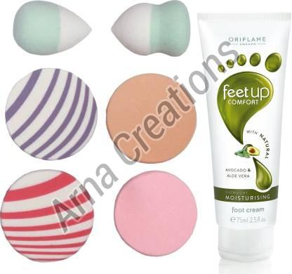 Oriflame Sweden Feet Up Comfort Foot Cream with Puff Sponge Combo
