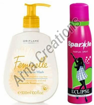 Oriflame Sweden Feminelle Mild Intimate Wash and Sparkle Perfume Combo