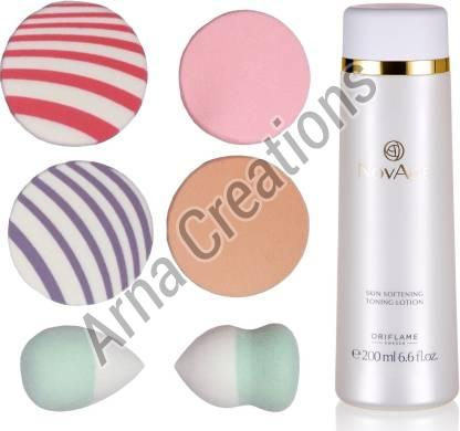 Oriflame Sweden NovAge Skin Softening Toning Lotion with Puff Sponge Combo