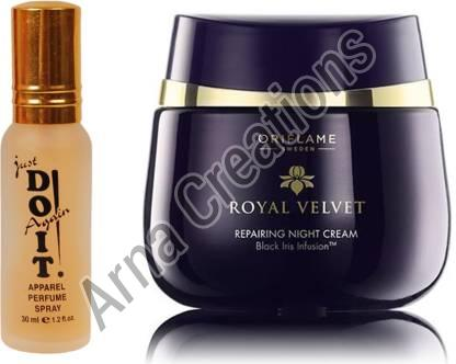 Oriflame Sweden Royal Velvet Repairing Night Cream with Just Doit Perfume Combo