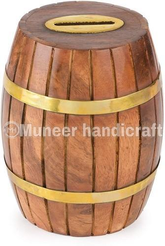 Wooden Barrel Shaped Coin Bank