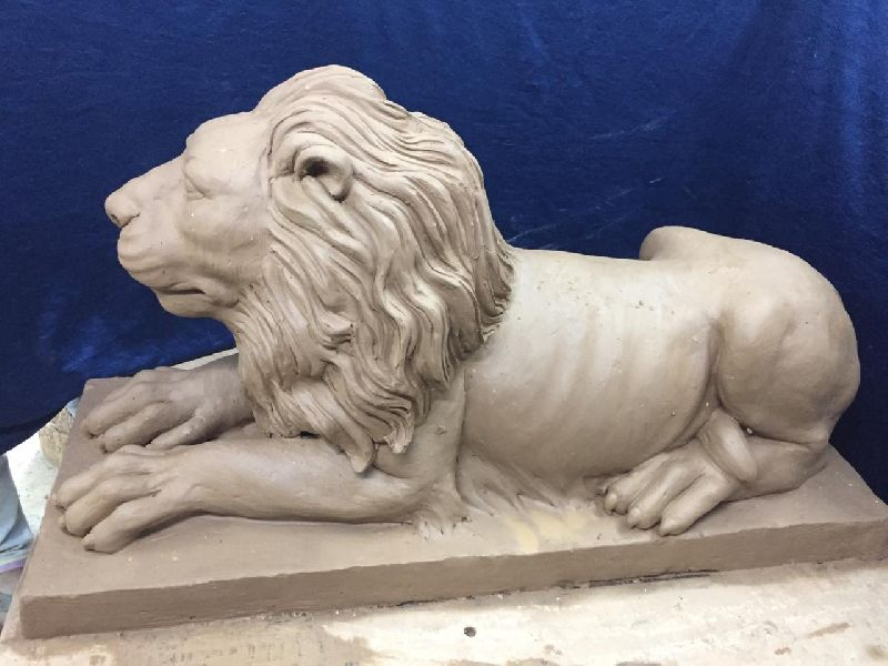 Clay Lion Statue