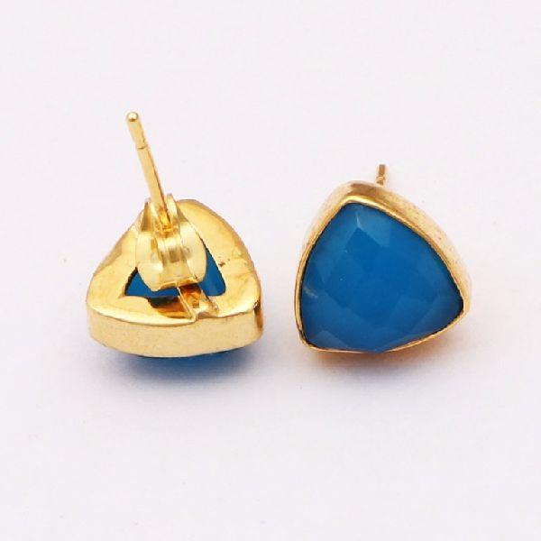 Blue Chalcedony Stone Earrings