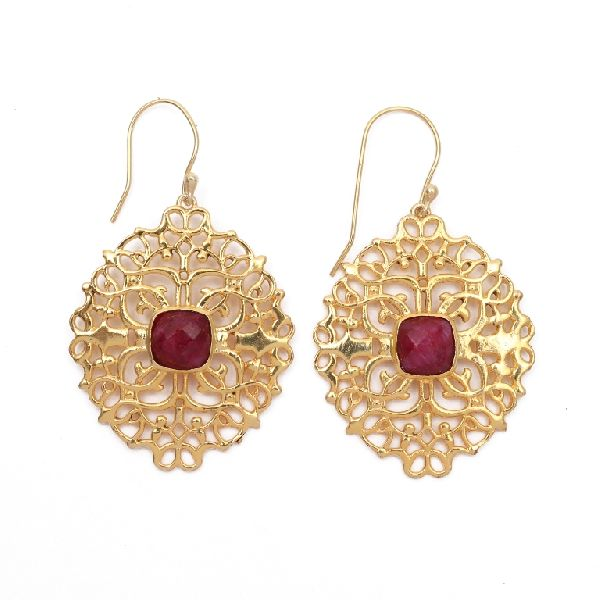 Designer Ruby Stone Earrings