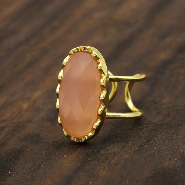 Peach Moonstone Adjustable Ring