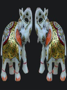 Marble Elephant Pair Statue